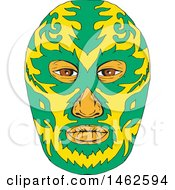 Clipart Of A Green And Yellow Luchador Face Mask In Drawing Sketch Style Royalty Free Vector Illustration by patrimonio