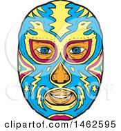 Clipart Of A Blue And Yellow Eagle Luchador Face Mask In Drawing Sketch Style Royalty Free Vector Illustration by patrimonio