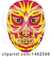 Clipart Of A Pink And Yellow Luchador Face Mask In Drawing Sketch Style Royalty Free Vector Illustration by patrimonio