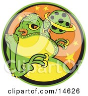 Big Fat Green Alien With A Yellow Belly And Yellow Suction Fingers Licking His Lips Clipart Illustration