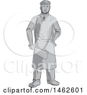 Clipart Of A Grayscale Butcher Holding A Cleaver Knife In Drawing Sketch Style Royalty Free Vector Illustration