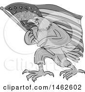 Poster, Art Print Of Grayscale Eagle Marching With An American Flag In Drawing Sketch Style