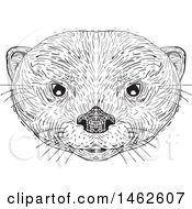 Black And White Asian Small Clawed Otter Face In Drawing Sketch Style