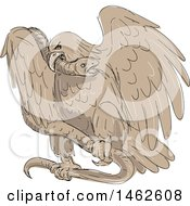 Poster, Art Print Of Serpent In The Clutches Of An Eagle In Drawing Sketch Style