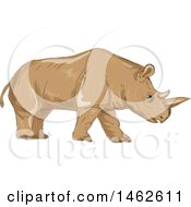 Walking Northern White Rhinoceros In Drawing Sketch Style