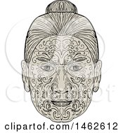 Clipart Of A Maori Face With Moko Tattoo In Drawing Mandala Style Royalty Free Vector Illustration by patrimonio