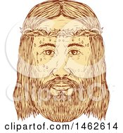 Clipart Of The Face Of Jesus Christ With Crown Of Thorns In Drawing Sketch Style Royalty Free Vector Illustration by patrimonio