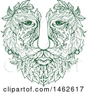 Clipart Of A Green Male Face With Leaves In Drawing Mandala Sketch Style Royalty Free Vector Illustration