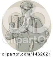 Vintage Mail Man Courier Holding Letters In A Circle In Drawing Watercolor Style