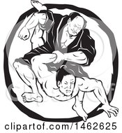 Clipart Of A Black And White Samurai Jiu Jitsu Judo Fighting Scene In A Circle Royalty Free Vector Illustration by patrimonio