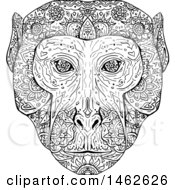 Clipart Of A Black And White Rhesus Macaque Face In Mandala Style Royalty Free Vector Illustration