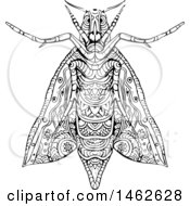 Clipart Of A Black And White Elephant Hawk Moth In Mandala Style Royalty Free Vector Illustration