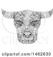 Black And White Taurus Bull Face In Mandala Style