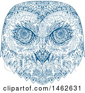 Clipart Of A Blue Snowy Owl Face In Mandala Style Royalty Free Vector Illustration