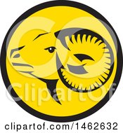 Clipart Of A Tribal Ram Sheep Head In A Black And Yellow Circle Royalty Free Vector Illustration