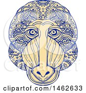 Clipart Of A Mandrill Monkey Face In Mandala Style Royalty Free Vector Illustration