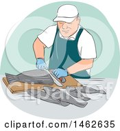 Male Fishmonger Cutting Fish In An Oval In Drawing Sketch Style