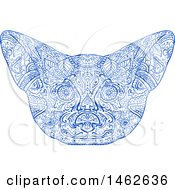 Clipart Of A Blue Fennec Fox Face In Mandala Style Royalty Free Vector Illustration by patrimonio