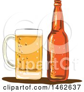 Craft Beer Mug And Bottle In Watercolor Style