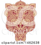Clipart Of A Tiger Face In Mandala Style Royalty Free Vector Illustration