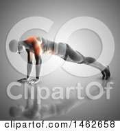 Clipart Of A 3d Man With Glowing Muscles Used During Pushups On Gray Royalty Free Illustration