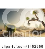 Clipart Of A 3d Desert Landscape With Cacti Plants Royalty Free Illustration by KJ Pargeter