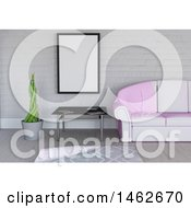 Clipart Of A 3d Blank Picture Frame In A Living Room Interior Royalty Free Illustration by KJ Pargeter