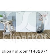 Clipart Of A 3d Large Blank Canvas Leaning Against A Wall In A Room Royalty Free Illustration by KJ Pargeter
