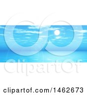 Clipart Of A Blue Widescreen Landscape Of 3d Sky And Ocean Royalty Free Illustration