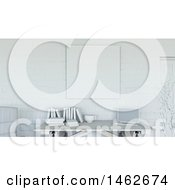 Clipart Of A 3d White Interior With A Blank Canvas Over A Desk Royalty Free Illustration by KJ Pargeter