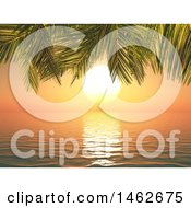 Clipart Of A 3d Ocean Sunset With Palm Tree Branches Royalty Free Illustration