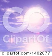 Clipart Of A 3d Purple Sunset Sky And Ocean Royalty Free Illustration