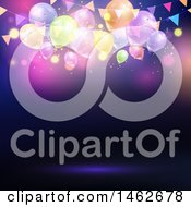Clipart Of A Party Background With String Lights Confetti And Balloons Royalty Free Vector Illustration