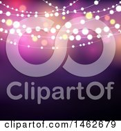 Clipart Of A Party Background With String Lights And Flares Royalty Free Vector Illustration