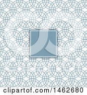 Clipart Of A Blank Frame Over A Blue Circles Pattern Royalty Free Vector Illustration by KJ Pargeter