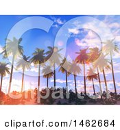 Poster, Art Print Of Sunset Sky Over 3d Tropical Palm Trees