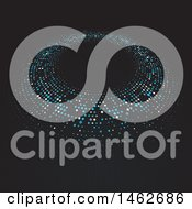Clipart Of A Ring Of Halftone Dots On Black Royalty Free Vector Illustration
