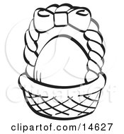 Egg In A Brown Easter Basket With A Pink Bow On The Handle Black And White Clipart Illustration by Andy Nortnik