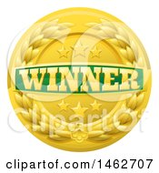 Clipart Of A Green And Gold Winner Badge With Stars And A Laurel Wreath Royalty Free Vector Illustration by AtStockIllustration
