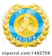Clipart Of A Global Leader Earth And Laurel Wreath Medal Royalty Free Vector Illustration by AtStockIllustration