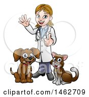 Clipart Of A White Female Veterinarian Waving And Giving A Thumb Up Over A Cat And Dog Royalty Free Vector Illustration by AtStockIllustration