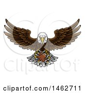 Clipart Of A Cartoon Swooping American Bald Eagle With A Football In His Talons Royalty Free Vector Illustration
