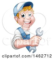Cartoon Happy White Male Worker Holding A Spanner Wrench Around A Sign