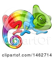 Clipart Of A Cartoon Happy Rainbow Chameleon Lizard Royalty Free Vector Illustration