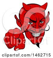 Clipart Of A Grinning Evil Red Devil Pointing Outwards Royalty Free Vector Illustration by AtStockIllustration