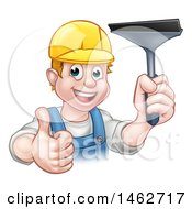 Clipart Of A Cartoon Happy White Male Window Cleaner Giving A Thumb Up And Holding A Squeegee Royalty Free Vector Illustration