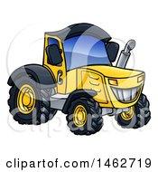 Poster, Art Print Of Cartoon Yellow Tractor