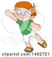 Clipart Of A Friendly Boy Waving Royalty Free Vector Illustration