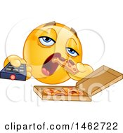 Clipart Of A Yellow Emoji Couch Potato Emoticon Eating Pizza And Holding A Tv Remote Royalty Free Vector Illustration by yayayoyo