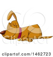 Clipart Of A Sleeping Dog Smiling Royalty Free Vector Illustration